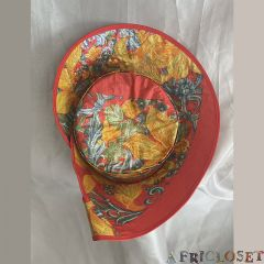 Italy Red Floral Print Hat